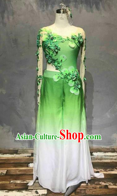Chinese Traditional Folk Dance Costume Classical Dance Yangko Green Dress for Women