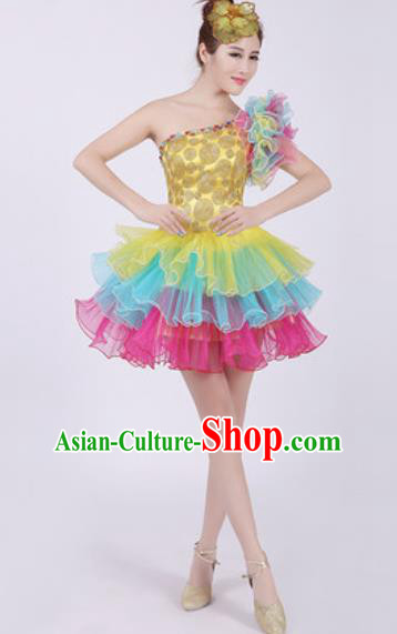 Top Grade Chorus Costume Modern Dance Stage Performance Short Bubble Dress for Women