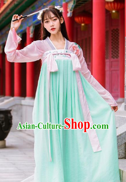 Chinese Ancient Tang Dynasty Nobility Lady Embroidered Costumes Green Hanfu Dress for Rich