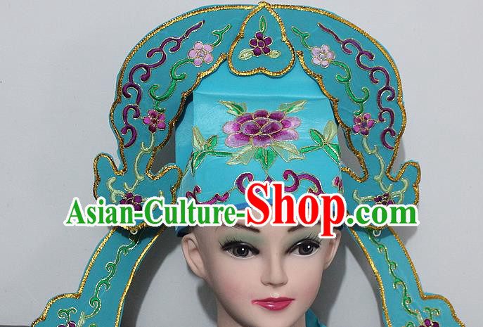 Chinese Traditional Peking Opera Niche Hats Ancient Nobility Childe Green Hat for Men