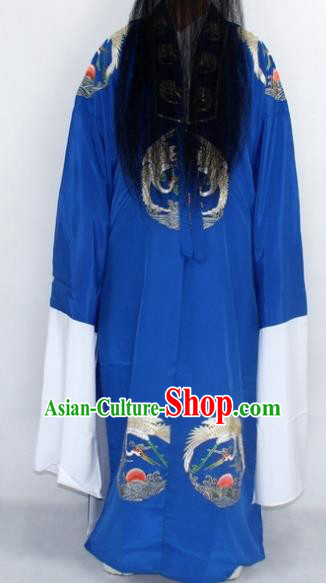 Chinese Traditional Peking Opera Old Gentleman Blue Robe Ancient Landlord Costume for Men