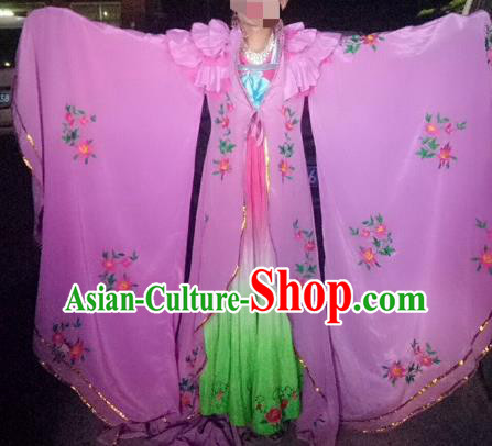 Traditional Chinese Tang Dynasty Imperial Consort Historical Costumes Ancient Embroidered Pink Hanfu Dress for Women