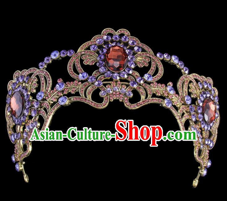 Top Grade Baroque Style Handmade Purple Crystal Royal Crown Bride Retro Wedding Hair Accessories for Women