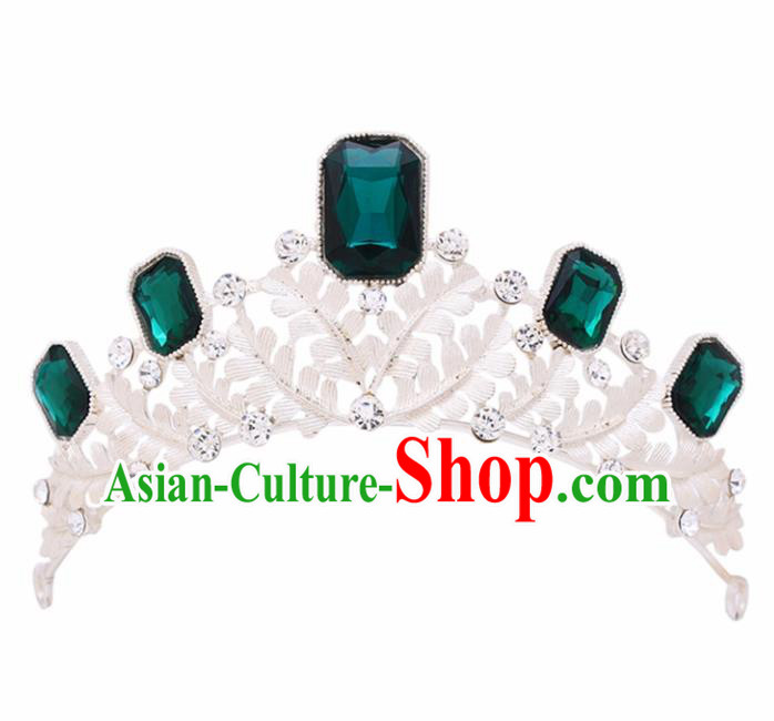Handmade Bride Wedding Green Crystal Pearls Hair Jewelry Accessories Baroque Royal Crown for Women