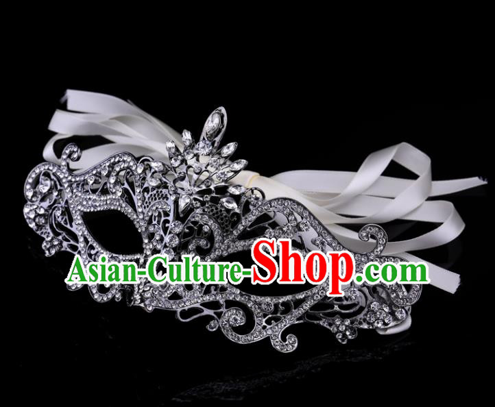 Handmade Halloween Accessories Fancy Ball Cosplay Props Crystal Grey Masks for Women