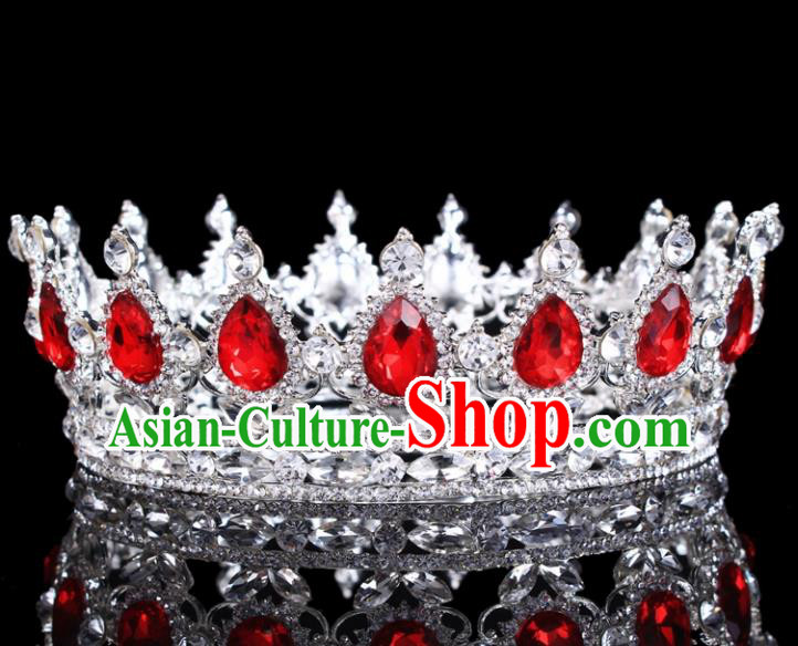 Handmade Bride Wedding Hair Jewelry Accessories Baroque Queen Red Crystal Royal Crown for Women
