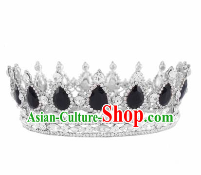 Handmade Bride Wedding Hair Jewelry Accessories Baroque Queen Black Crystal Royal Crown for Women