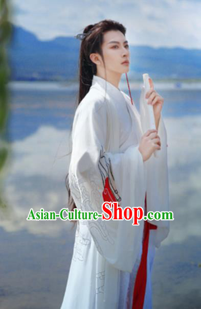 Traditional Chinese Jin Dynasty Nobility Childe Costumes Ancient Swordsman White Hanfu for Men