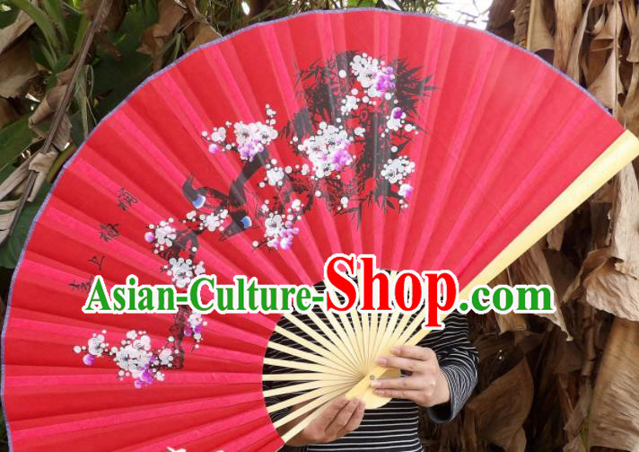 Chinese Traditional Handmade Red Silk Fans Decoration Crafts Painting Plum Blossom Magpie Wood Frame Folding Fans