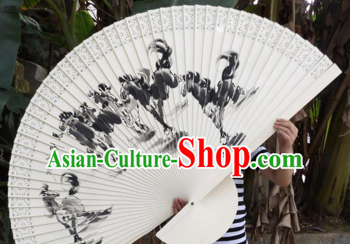 Chinese Traditional Handmade Wood Fans Decoration Crafts Ink Painting Horses Folding Fans