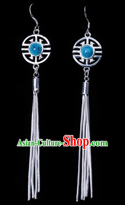 Chinese Traditional Ethnic Jewelry Accessories Eardrop Mongolian Sky Blue Beads Earrings for Women