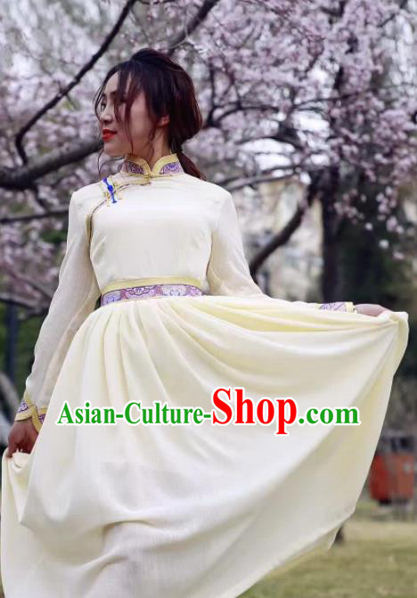 Chinese Mongol Minority Ethnic Costume Traditional Mongolian White Dress for Women