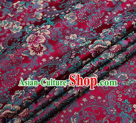 Chinese Traditional Amaranth Brocade Drapery Classical Peony Pattern Design Satin Tang Suit Qipao Silk Fabric Material