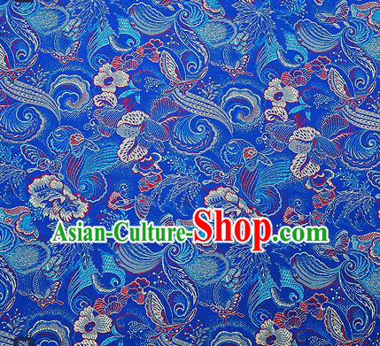 Traditional Chinese Blue Brocade Drapery Classical Butterfly Peony Pattern Design Satin Cheongsam Silk Fabric Material