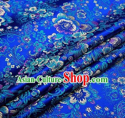 Chinese Traditional Royalblue Brocade Drapery Classical Peony Pattern Design Satin Tang Suit Qipao Silk Fabric Material