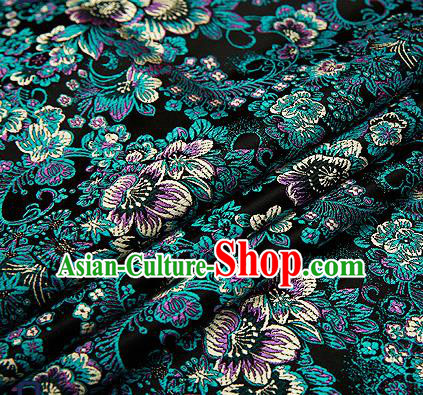 Chinese Traditional Black Brocade Drapery Classical Peony Pattern Design Satin Tang Suit Qipao Silk Fabric Material