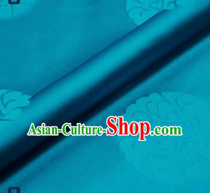 Traditional Chinese Brocade Drapery Classical Pattern Design Blue Satin Qipao Silk Fabric Material