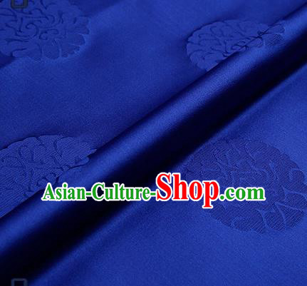 Traditional Chinese Brocade Drapery Classical Pattern Design Royalblue Satin Qipao Silk Fabric Material