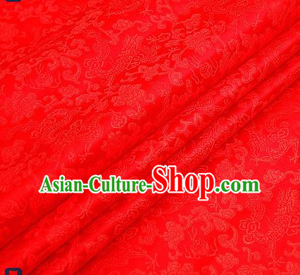Traditional Chinese Red Satin Brocade Drapery Classical Dragons Pattern Design Qipao Silk Fabric Material