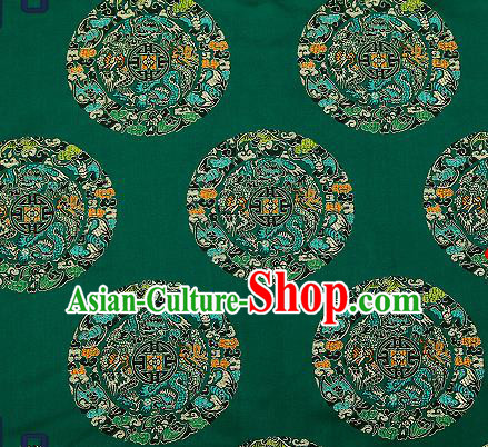 Asian Chinese Traditional Fabric Tang Suit Green Brocade Silk Material Classical Dragons Pattern Design Satin Drapery