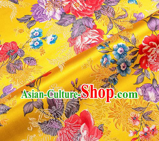 Traditional Chinese Classical Yellow Satin Brocade Drapery Chrysanthemum Peony Pattern Design Qipao Dress Silk Fabric Material
