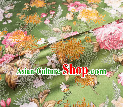 Traditional Chinese Classical Green Satin Brocade Drapery Chrysanthemum Peony Pattern Design Qipao Dress Silk Fabric Material