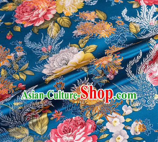 Traditional Chinese Classical Blue Satin Brocade Drapery Chrysanthemum Peony Pattern Design Qipao Dress Silk Fabric Material