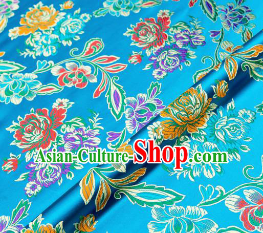 Traditional Chinese Tang Suit Silk Fabric Blue Brocade Material Classical Peony Pattern Design Satin Drapery