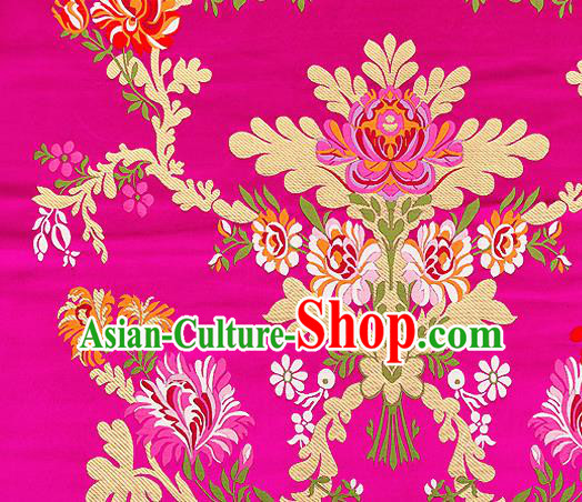 Asian Chinese Traditional Satin Fabric Tang Suit Rosy Brocade Silk Material Classical Peony Pattern Design Drapery