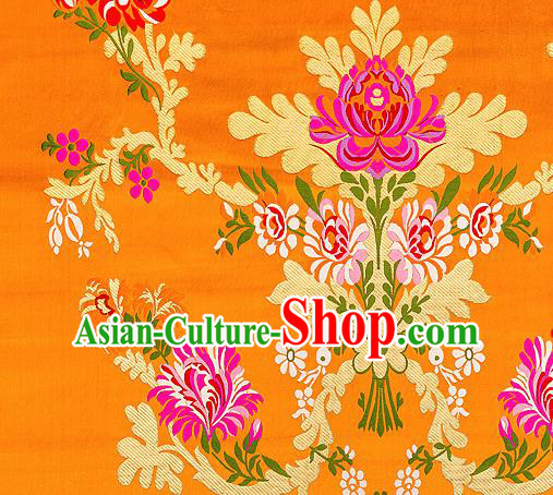 Asian Chinese Traditional Satin Fabric Tang Suit Orange Brocade Silk Material Classical Peony Pattern Design Drapery