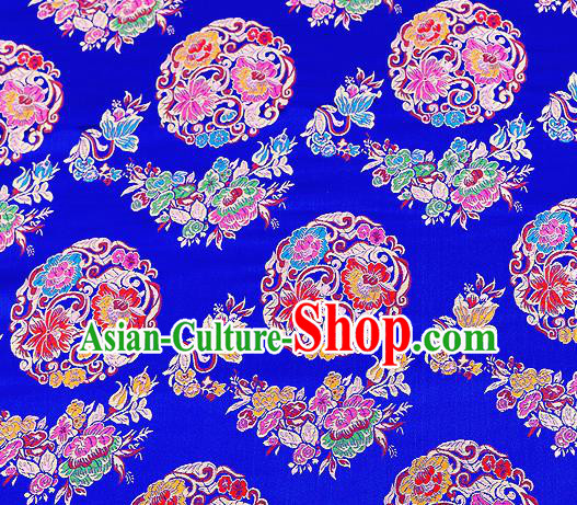 Asian Chinese Traditional Satin Fabric Tang Suit Royalblue Brocade Silk Material Classical Peony Pattern Design Drapery