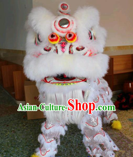 Chinese Traditional Lion Dance White Fur Costumes Spring Festival Lion Dance Props Lion Head for Adults