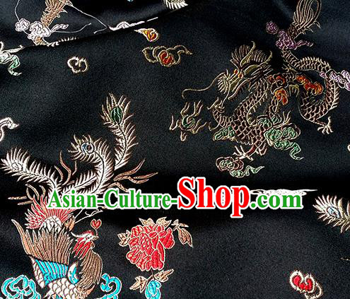 Asian Chinese Traditional Fabric Black Satin Brocade Silk Material Classical Dragon Phoenix Pattern Design Satin Drapery