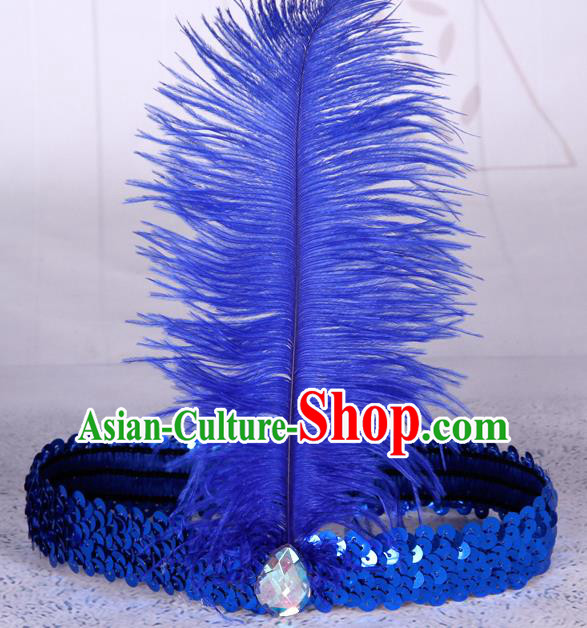 Top Grade Catwalks Headwear Halloween Cosplay Hair Accessories Royalblue Feather Hair Clasp
