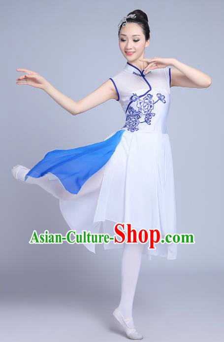 Chinese Traditional Classical Dance Costumes Folk Dance Umbrella Dance White Dress for Women