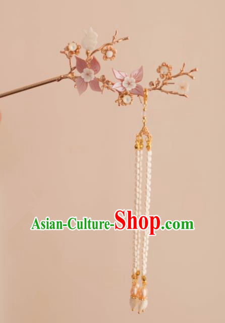 Chinese Traditional Handmade Pink Flowers Hair Clip Hair Accessories Ancient Tassel Hairpins for Women
