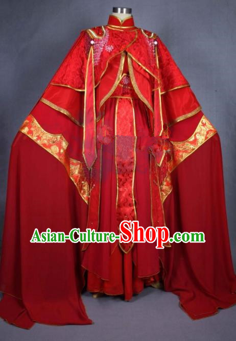 Asian Chinese Cosplay Princess Wedding Costumes Ancient Swordswoman Red Dress Clothing for Women