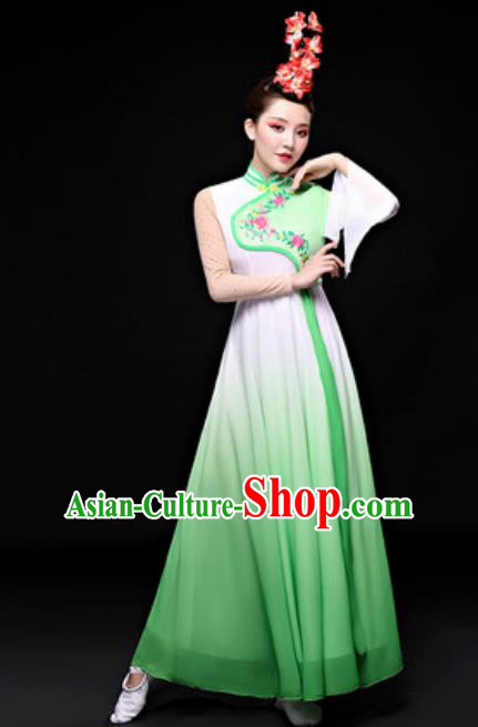 Chinese Traditional Folk Dance Costume Classical Dance Fan Dance Green Dress for Women