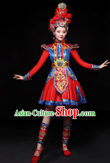 Chinese Traditional Mongol Nationality Folk Dance Costume Mongolian Drum Dance Red Dress for Women