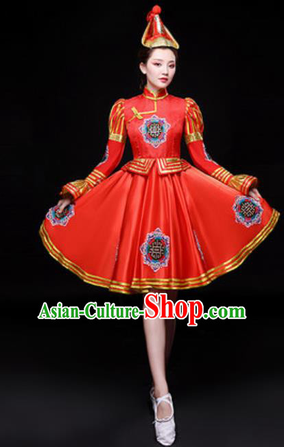 Chinese Traditional Mongol Nationality Folk Dance Costume Mongolian Dance Red Dress for Women