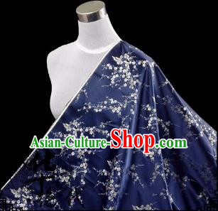 Asian Chinese Traditional Fabric Navy Satin Brocade Silk Material Classical Plum Blossom Pattern Design Satin Drapery