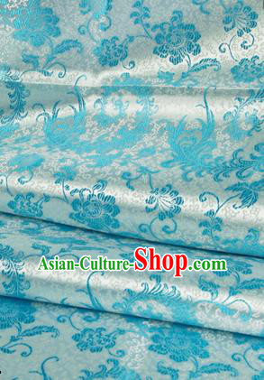 Asian Chinese Traditional Tang Suit Fabric Blue Satin Brocade Silk Material Classical Pattern Design Drapery