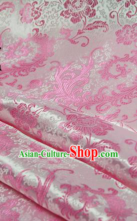 Asian Chinese Traditional Tang Suit Fabric Pink Satin Brocade Silk Material Classical Pattern Design Drapery