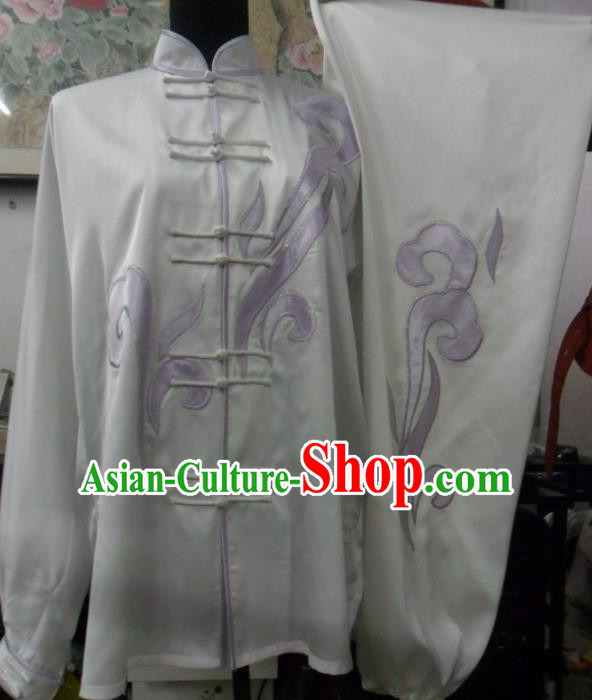 Chinese Traditional Kung Fu White Silk Costumes Martial Arts Tai Chi Training Clothing for Women
