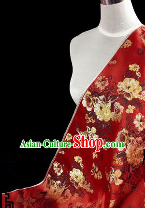 Asian Chinese Traditional Tang Suit Fabric Red Brocade Silk Material Classical Peony Pattern Design Drapery