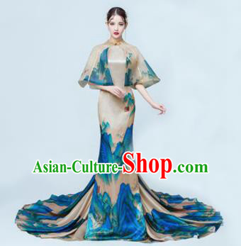 Chinese Classical Catwalks Costumes Cheongsam Traditional Full Dress for Women