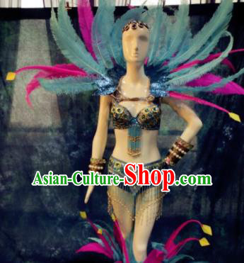 Top Grade Halloween Stage Performance Costumes Brazilian Carnival Clothing and Feather Wings Headdress for Women