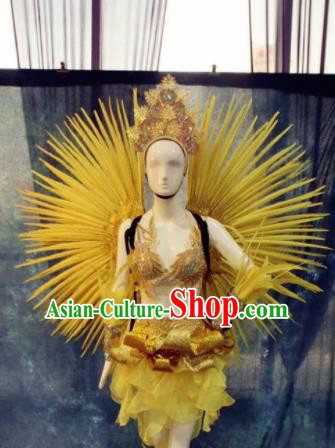 Top Grade Stage Performance Costumes Brazilian Carnival Feather Clothing and Wings Headdress for Women