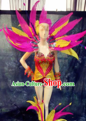 Top Grade Stage Performance Costumes Brazilian Carnival Feather Clothing and Wings for Women