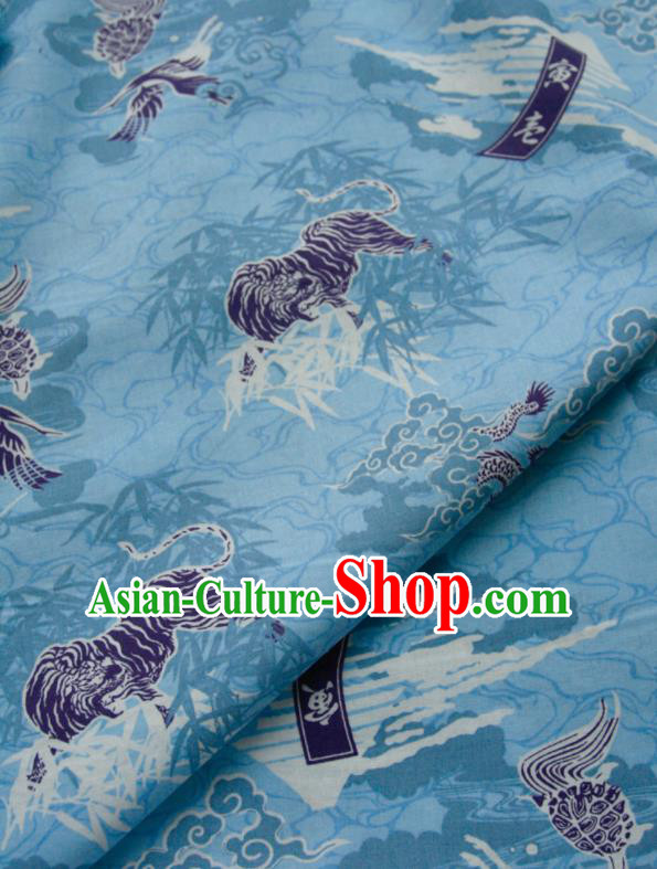 Asian Japanese Traditional Kimono Fabric Blue Brocade Silk Material Classical Lions Pattern Design Drapery